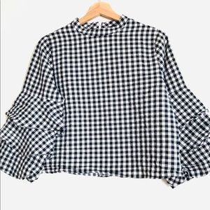 Zara Basic Collection gingham blouse bell sleeves